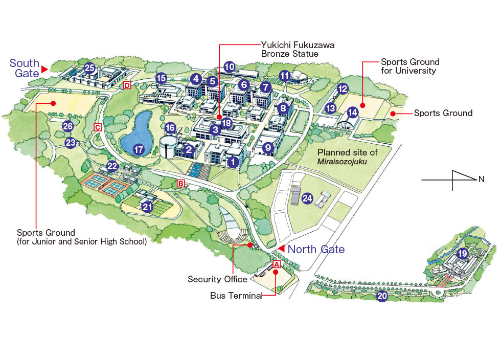Ku Med Campus Map.Campus Map Keio University Shonan Fujisawa Campus